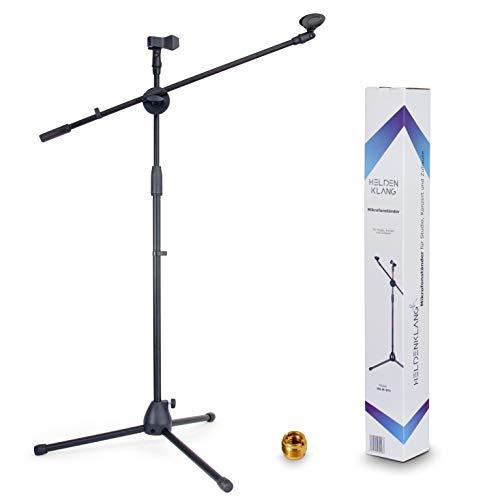 Heldenklang Mikrofonständer für 2 Mikrofone – Mit Schwenkarm, 2 Mikrofonklemmen und Adapter – Extra großer Tripod Standfuß für einen stabilen Stand