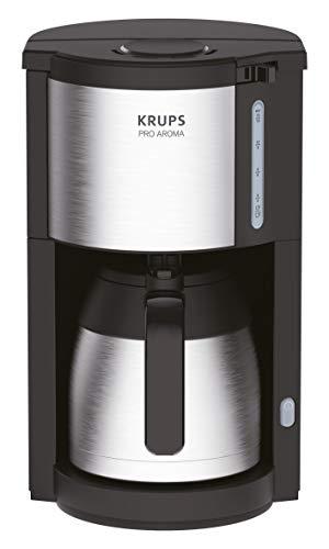 Krups KM305D Filterkaffeemaschine ProAroma | Thermo- Edelstahlkanne | Automatische Abschaltung | 10-15 Tassen | 800 Watt | 1,25L Wassertank | Schwarz/ Edelstahl