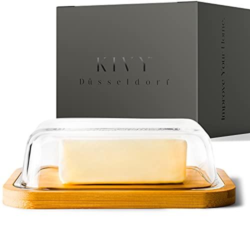 KIVY® Butterdose - Hochwertige Butterdose aus Glas mit edlem & nachhaltigem Bambusdeckel - Butterglocke für 250g Butter - Butterdose Glas mit Deckel Bambus -...