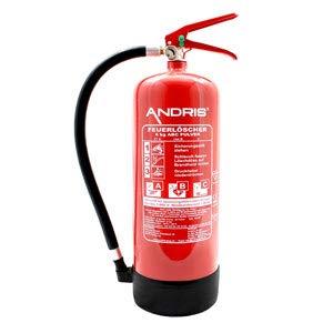 Feuerlöscher 6kg ABC Pulverlöscher mit Manometer EN 3 + ANDRIS Prüfnachweis mit Jahresmarke & ISO-Symbolschild Folie