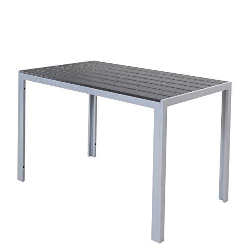 Chicreat Tisch aus Aluminium mit Polywood-Platte, Silber und Schwarz, 120 x 70 x 75cm