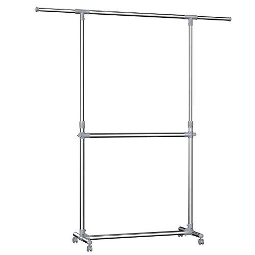 SONGMICS Kleiderständer Garderobenständer mit Rollen Höhenverstellbar von 113 bis 198 cm, Edelstahl plattierte Rohre LLR401