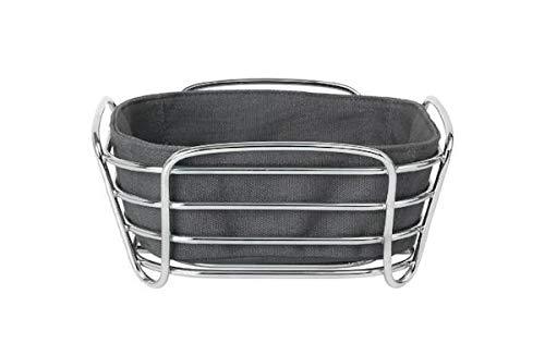 Blomus Brotkorb Magnet L - Brotkörbchen aus verchromtem Stahl und Baumwoll-Stofftasche