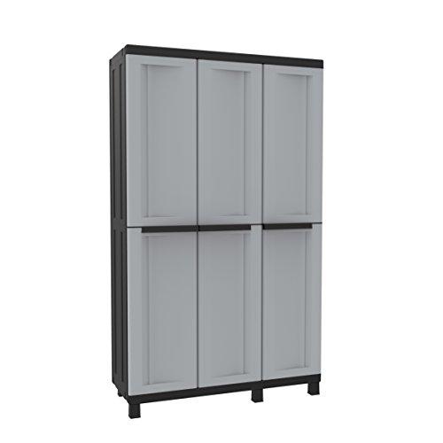 Terry, Twist Black 102A, Multifunktionsschrank mit 3 Türen, 2 getrennten Innenräumen, 3 Einlegeböden, für innen und außen. Farbe: Grau/Schwarz, Material:...