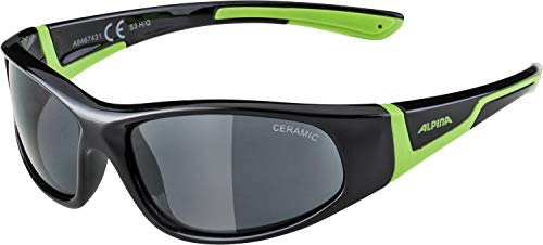Alpina Kinder Sonnenbrille FLEXXY JUNIOR Outdoorsport-brille, Black-Green, One Size