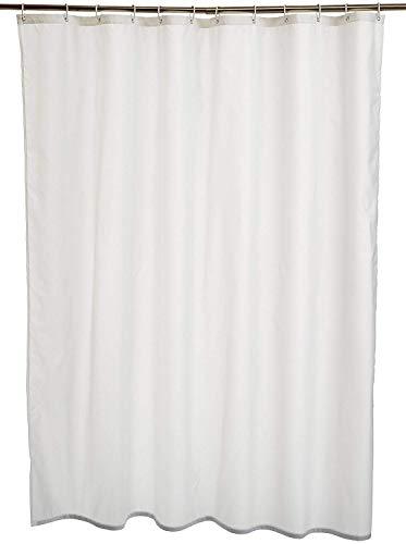 Amazon Basics Duschvorhang, wasserabweisend, mit verstärktem Saum, Polyester, 180 x 200 cm, Weiß