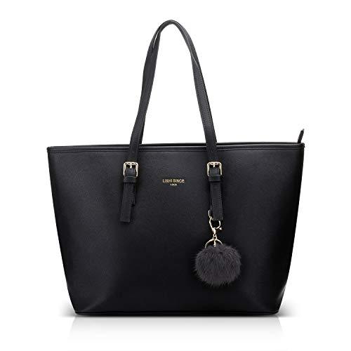 LI&HI Damen Handtasche Shopper Handtasche Schwarz Elegant Schwarze Groß Damen Tasche für Büro Schule Einkauf mit Pelz Kugel Plüsch Schlüsselring (Verbesserte...