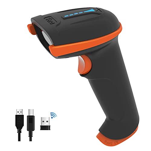 Tera Kabelloser Handheld-Barcode-Scanner 1D Laser Wireless und USB-Wired mit Akkustandsanzeige, Extra Großem Akku 2000mAh und Ergonomischem Design, Patent-Nr.:...