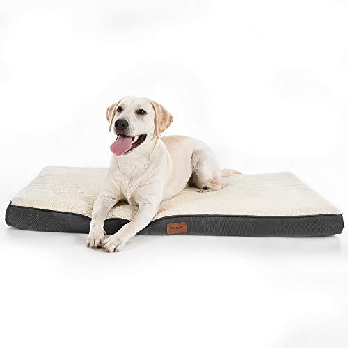 Bedsure Hundekissen/Hundematratze für kleine mittlere große Hunde, eierförmiger Kistenschaum orthopädische Hundebett kuschelig bequem Schlafplatz, 90x70 cm,...