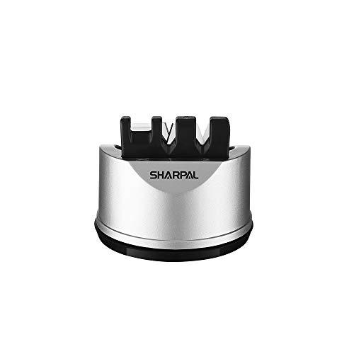Sharpal 191H 3-Stufen Manuelle Messerschärfer, Messerschleifer Profi mit Saugnapf, Pocket Küchenmesser-und Scherenschärfer für gerade und Wellenschliff Messer,...