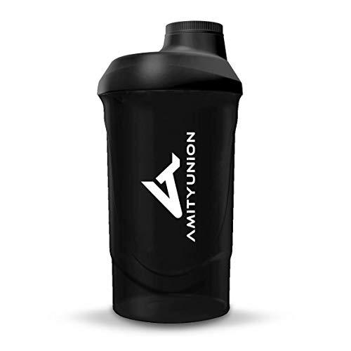 AMITYUNION Protein Shaker Deluxe 800 ml - Eiweiß Shaker auslaufsicher - BPA frei mit Sieb & Skala für Cremige Whey Proteinpulver Shakes Fitness Becher für Isolate...