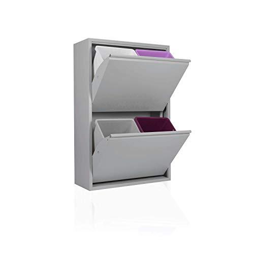 Betten-ABC Refina Mehrzweckschrank, Mülltrenner, platzsparend, aus pflegeleichtem Metall Farbe Grau, Größe 4 x 15 L