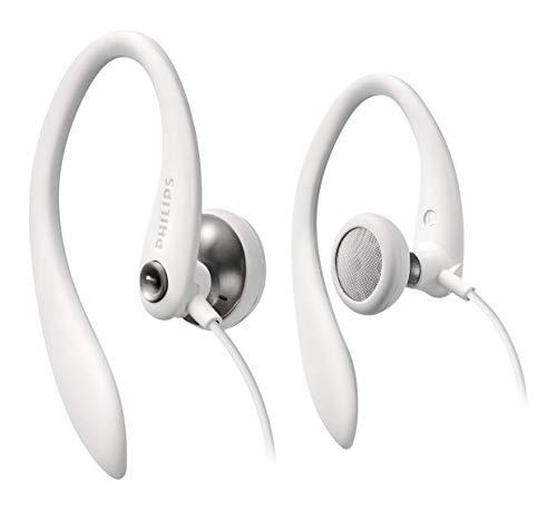 Philips SHS3300WT/10 In Ear Bügel-Kopfhörer (SportKopfhörer, Kraftvoller Sound, Bass-Beat-Öffnungen, Komfort-Ohrpolster, Ergonomische Ohrbügel, Asymmetrisches...