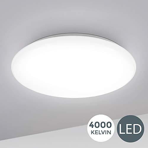 B.K.Licht I 12W LED Deckenlampe I 4.000K Neutralwei I 1.200 Lumen I 28cm I Schutzart IP20 I Brolampe gewlbt I LED Deckenleuchte