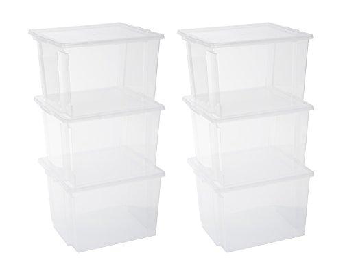 IRIS 130625, 6er-Set Aufbewahrungsboxen / Kisten mit Deckel / Stapelboxen'Useful Storage Box', USB-M, Kunststoff, transparent, 40 L, 42 x 36 x 26,5 cm