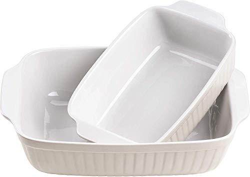 Mäser 931137 Serie Kitchen Time, Auflaufformen rechteckig im 2er Set, eckige Ofenformen, ideal auch für Lasagne, kratz- und schnittfest, Keramik, 33 x 24 x 8 cm /...