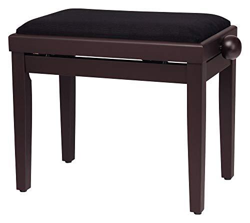 Classic Cantabile Pianobank Rosenholz-matt (höhenverstellbar von 47-56cm, Spindelmechanik, Sitzfläche 55 x 32cm, schwarzer Velourbezug, stabil)