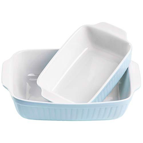 Mäser 931135 Serie Kitchen Time, Auflaufformen rechteckig im 2er Set, eckige Ofenformen, ideal auch für Lasagne, kratz- und schnittfest, Keramik, 33 x 24 x 8 cm /...