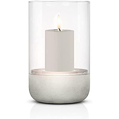 blomus -CALMA- Windlicht M in exklusiver Optik, puristischer Beton-Sockel, trendiger Kerzenhalter mit Kerze, garantierte Standfestigkeit, hochwertig (H / B / T: 20 x...