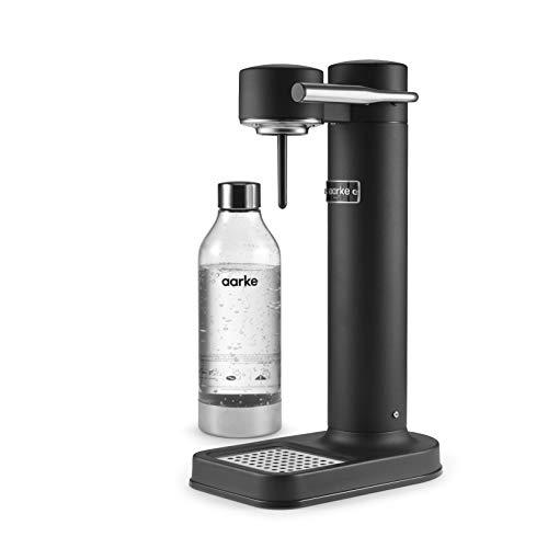 Aarke Carbonator II Wassersprudler (Edelstahl Gehäuse, Soda Sprudelwasser, inkl. PET-Flasche, kompatibel mit CO2 Sodastream Zylindern) Schwarz