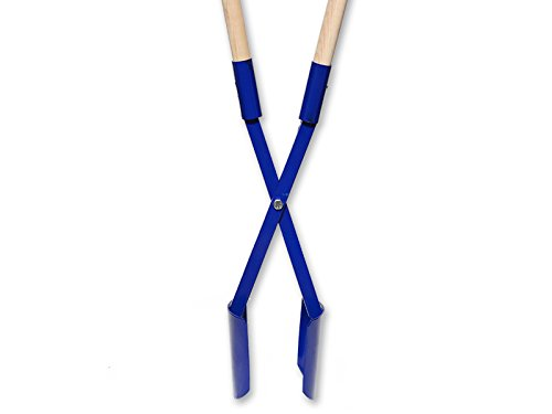 Spaten Handbagger Lochspaten Erdlochausheber Doppelspaten Grabespaten groß blau mit Holzgriffen