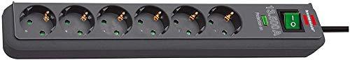 Brennenstuhl Eco-Line, Steckdosenleiste 6-fach mit Überspannungsschutz (Steckerleiste mit erhöhtem Berührungsschutz, Schalter und 1,5m Kabel) anthrazit