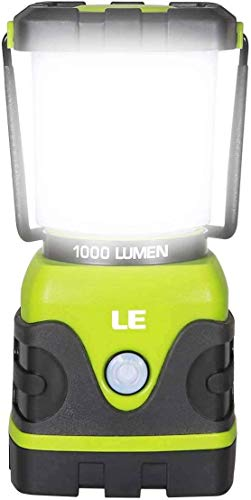 LE LED Camping Lamp, Ultra Bright 1000 Lumen, 3 Brightness Dimmable Searchlight, Battery Operated Emergency Light for Power Outage, Hiking, Emergency, ...