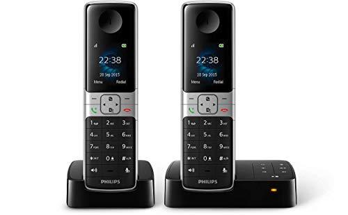 Philips D6352B/38 DECT Schnurlostelefon mit Anrufbeantworter, 2 Mobilteile