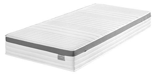 Traumnacht Komfort 7-Zonen Komfortschaummatratze, mit Memoryschaumauflage Härtegrad 3 (H3), 90 x 200 cm, weiß