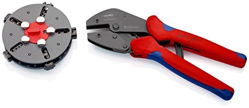 KNIPEX 97 33 02 MultiCrimp® Crimpzange mit Wechselmagazin und 5 Crimpeinsätzen brüniert mit Mehrkomponenten-Hüllen 250 mm