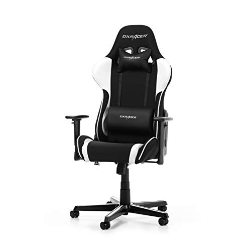 DXRacer (the original) Formula F11 gaming chair for PC, ergonomic office chair made of artificial leather, black and white