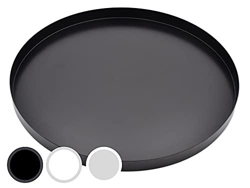 D&D Living Deko Tablett Rund Ø 30 cm | Design Dekoteller und Dekotablett aus Metall (Schwarz matt)
