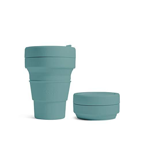 Stojo Zusammenklappbarer Kaffeebecher für unterwegs, Taschengröße, zusammenklappbarer Silikon-Reisebecher, Brooklyn Collection – 355 ml – Eukalyptus
