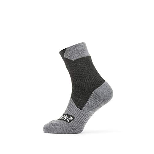 SealSkinz Waterproof All Weather Ankle Length Sock, Black/Grey Marl, M