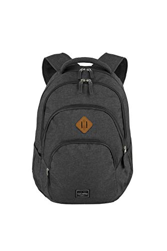 travelite backpack hand luggage with laptop compartment 15,6 inch, luggage series BASICS Daypack Melange: fashionable backpack in melange look, 096308-05, 45 cm, 22 liters, ...