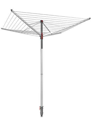 Vileda Sun-Lift Compact Wäschespinne, 40 m Trockenleinenlänge, höhenverstellbar von 1,60-1,81 m, Easy-Lift-System, inkl. 8 Kleiderbügelhalter, Bodenhülse,...