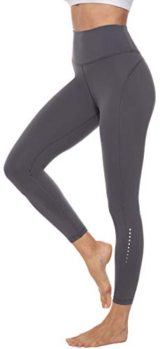 Persit Damen 7/8 Leggings, Sporthose Yogahose Sport Leggins für Damen Yoga Tights,M,Grau