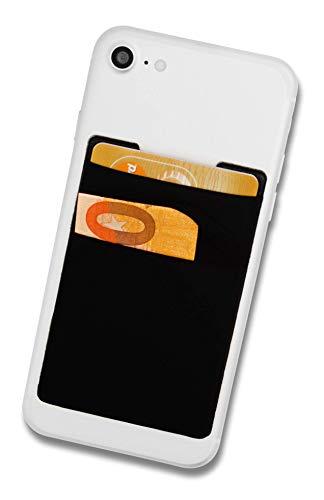 Cardsock - Wiederverwendbarer Handy Kartenhalter, Kartenfach - RFID Blocking Smartphone Wallet für Kreditkarten & Bargeld mit 2 Fächer in schwarz