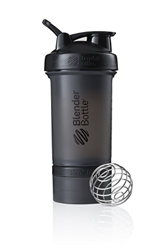 BlenderBottle ProStak Protein Shaker with BlenderBall with 2 containers 150ml and 100ml, 1 pill compartment, ideal for protein, diet and fitness shakes, scaled up to ...