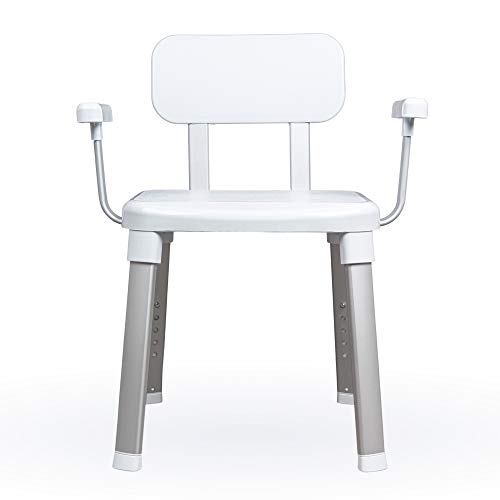 Weinberger Design Duschhocker für Senioren mit Rückenlehne und Armlehnen, rutschfeste Füße, höhenverstellbar, bis 150 kg, Duschstuhl, Duschsitz,...