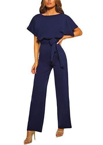 Happy Sailed Damen Langarm O-Ausschnitt Elegant Lang Jumpsuit Overall Hosenanzug Playsuit Romper,Blau,S