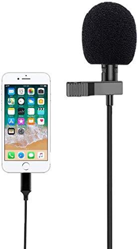Lavalier Mikrofon, Ansteckmikrofon mit 1.8m Verlängerungskabel und Kondensator, Perfekt für iPhone/Recording Interview/Conference/Podcast/Live-Übertragung/Handy K...