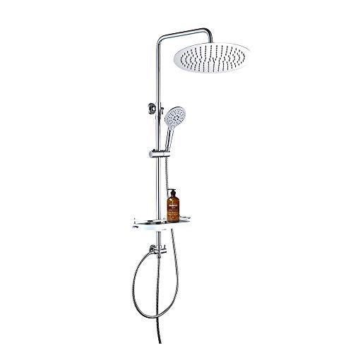 JOHO Edeltsahl Regenduschset Duschset Duschgarnitur Duschsystem mit Ablage (Kopfbrause D30cm)