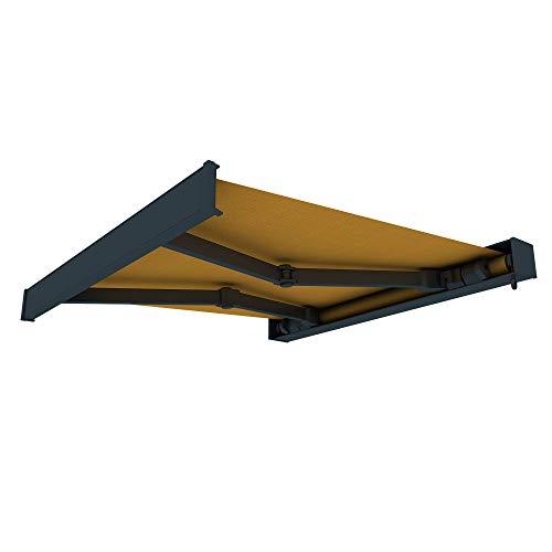 paramondo Markise Kassettenmarkise Line Gelenkarmmarkise Balkon Terrasse Sichtschutz, mit jarolift Funkmotor, 3,5 x 3 m, Gestell: Anthrazit, Stoff: Uni, Gelb