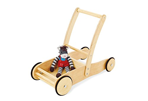 Pinolino walker Uli, made of wood, with brake system, baby walker with rubberized wooden wheels, for children from 1 - 6 years, natural