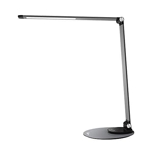 TaoTronics LED Schreibtischlampe Metall Tageslichtlampe mit 6 Helligkeits- und 3 Farbstufen, Ultradünn, augenschonende LED, Speicherfunktion, USB Ladeanschluss,...