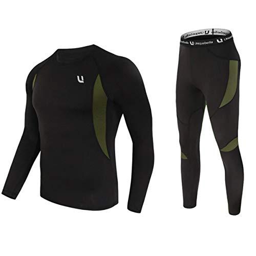 UNIQUEBELLA Thermounterwäsche Set, Funktionswäsche Herren Skiunterwäsche Winter Suit Ski Thermo-Unterwäsche Thermowäsche Unterhemd + Unterhose (Schwarz(Neu), S)