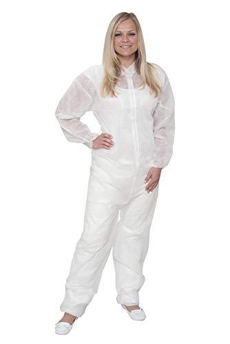 10 x Einweg Overall Premium Weiß Gr. XL   Overall mit Kragen   Maleroverall Schutzanzug für leichte Malerarbeiten, Lackierarbeiten, Reinigungsarbeiten   Maleranzug...