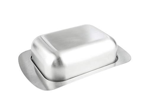 Cookery - Butterdose aus gebürstetem Edelstahl (spülmaschinenfest/spülmaschinengeeignet), 250g, matt, mit Deckel, Butterglocke, Butterschale, Metall, klein