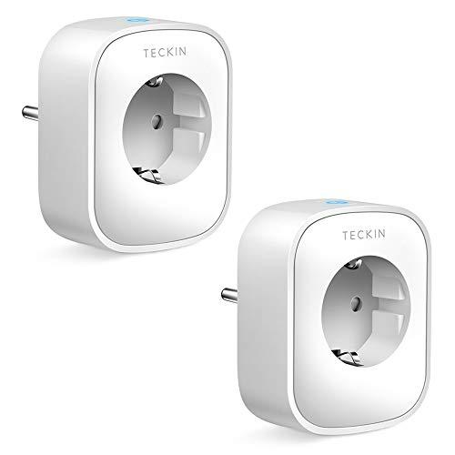 TECKIN WLAN Smart Steckdose 16A, Alexa Steckdose 2er Pack, Smart Home Steckdose misst den Stromverbrauch, mit Fernsteuerung und Sprachsteuerung, Funktionieren mit...